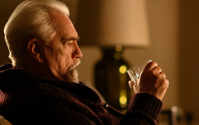 Brian Cox seated, in profile, from 'Succession'