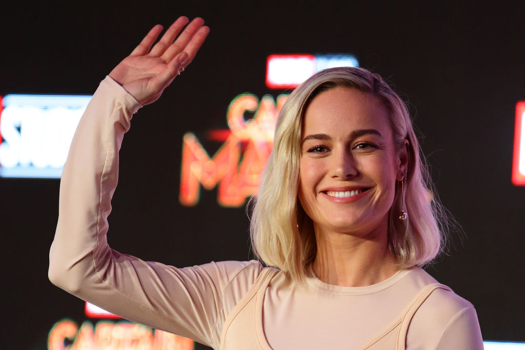Brie Larson attends the press conference for 'Captain Marvel' on February 14, 2019 in Singapore.