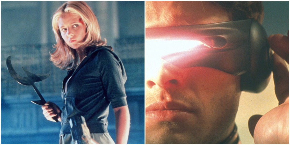 Joint image: (left) Sarah Michelle Gellar as Buffy Summers in the television series, 'Buffy The Vampire Slayer,' 1998 /  (right) Cyclops, aka Scott Summers, (James Marsden) Lets Out An Optic Blast From His Visors In The Film 'X-Men' |