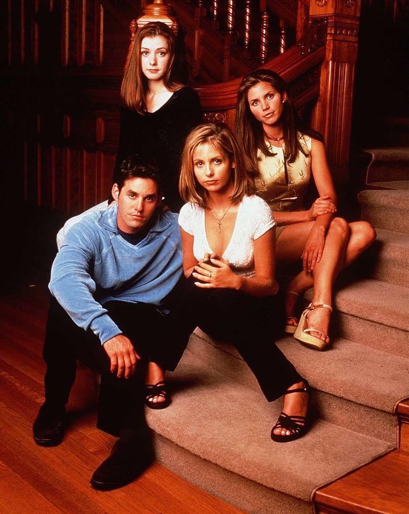 "Alyson Hannigan as Willow Rosenberg, Charisma Carpenter as Cordelia Chase, Sarah Michelle Gellar as Buffy and Nicholas Brendon as Xander Harris in ""Buffy The Vampire Slayer.'"