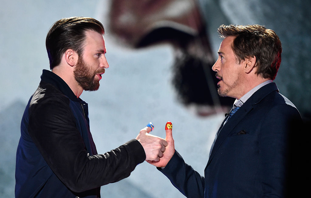 Chris Evans and Robert Downey Jr. onstage during the 2016 Kids' Choice Awards