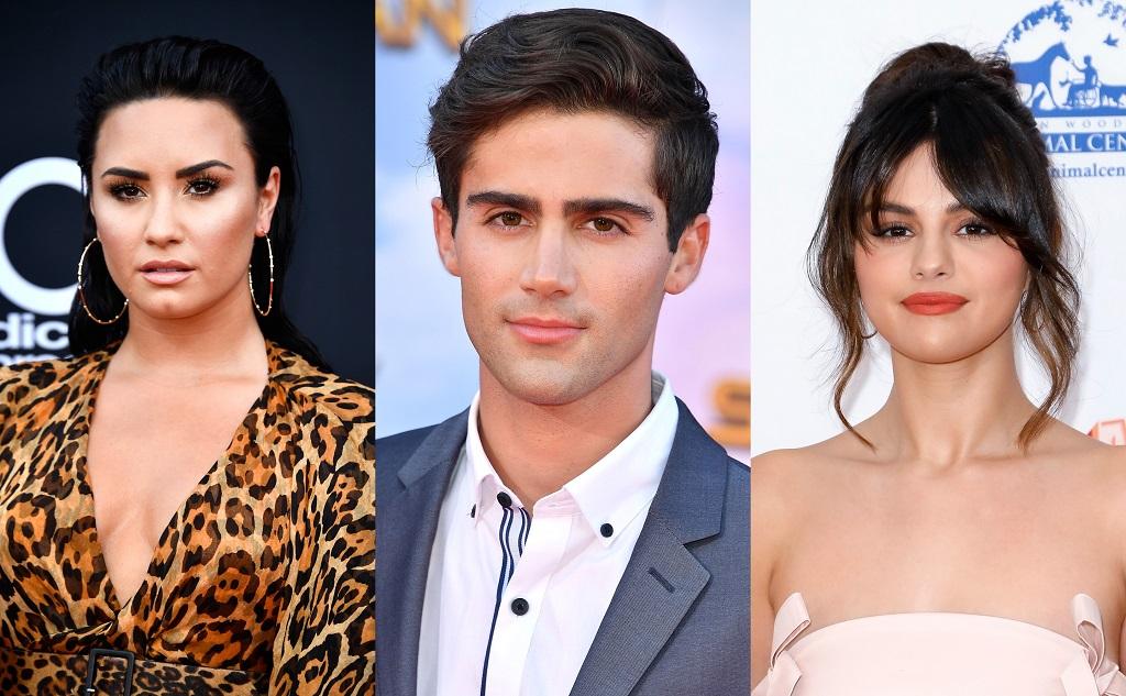 composite image of Demi Lovato, Max Ehrich, and Selena Gomez