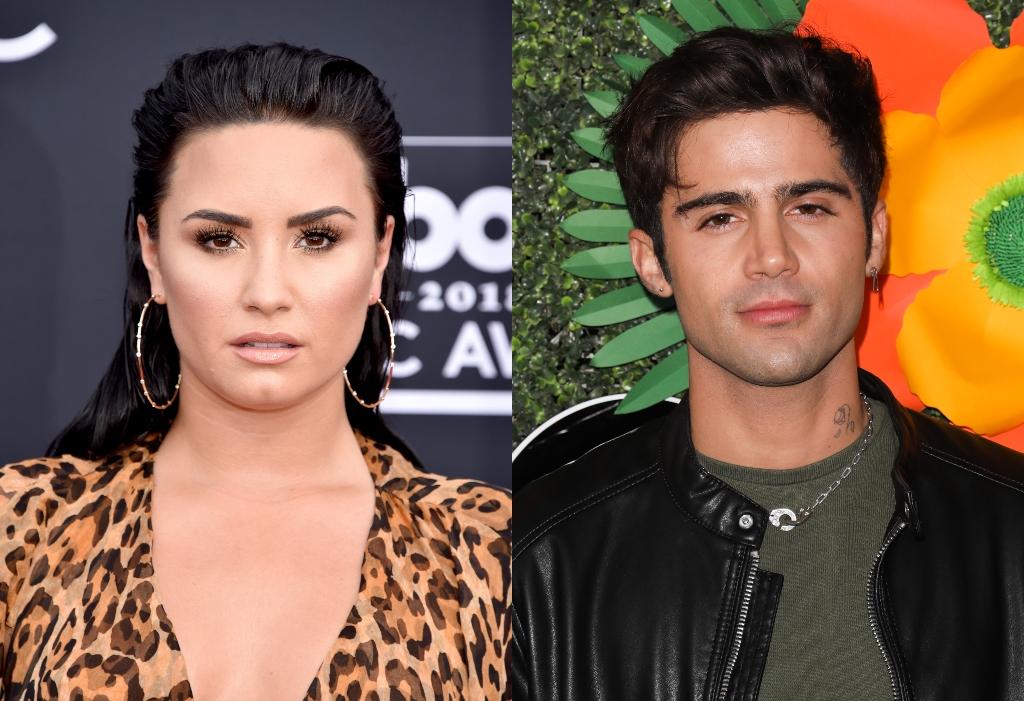 composite image of Demi Lovato and Max Ehrich