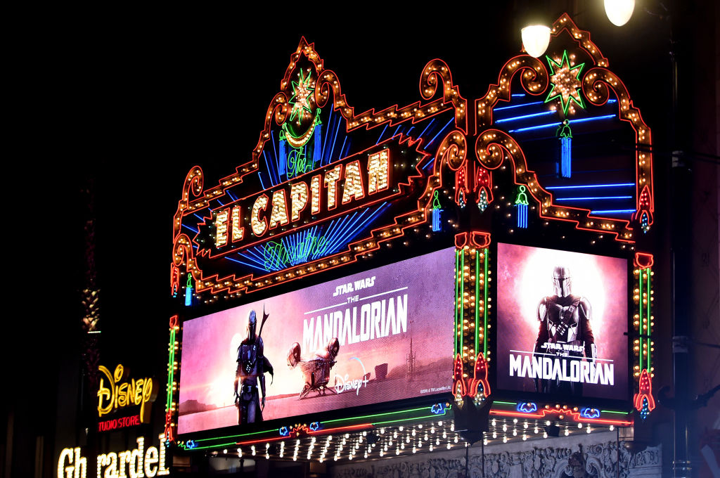 A view of the marquee at the premiere of Lucasfilm's first-ever, live-action series, 'The Mandalorian,' at the famous El Capitan Theatre in Hollywood, Calif.