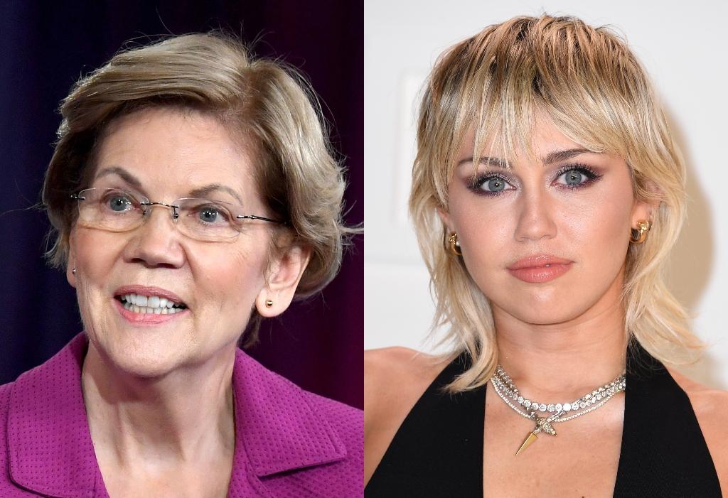 A composite image of Elizabeth Warren (L) and Miley Cyrus (R)