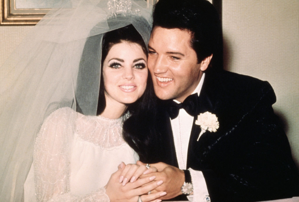 Priscilla and Elvis Presley on their wedding day