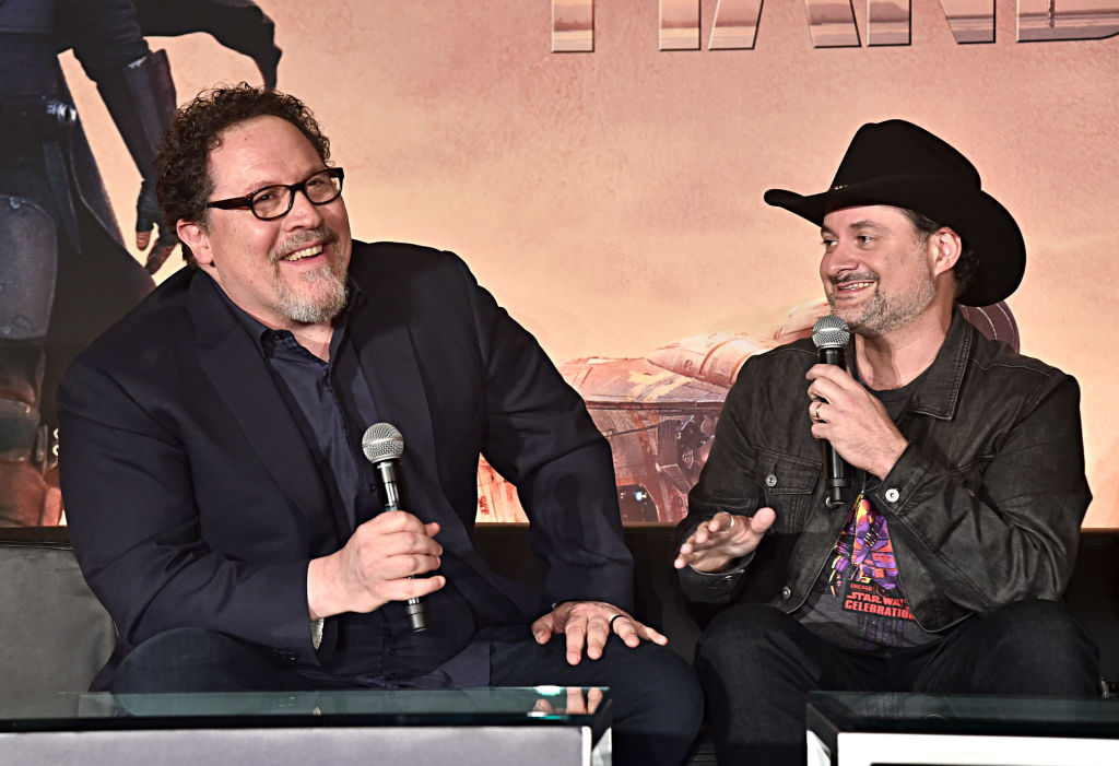 Executive producers/writers Jon Favreau and Dave Filoni of Lucasfilm's 'The Mandalorian' at the Disney+ Global Press Day on October 19, 2019.