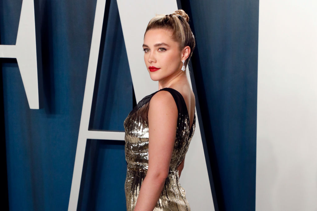 Florence Pugh at the Vanity Fair Oscar Party at Wallis Annenberg Center for the Performing Arts on February 09, 2020