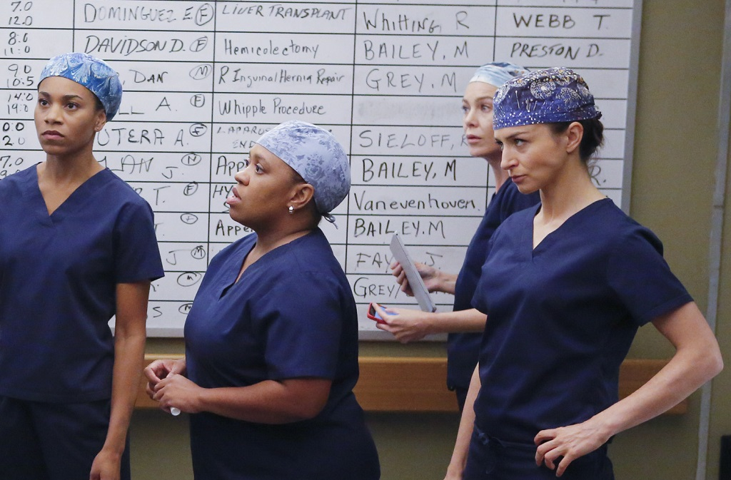 Kelly McCreary, Chandra Wilson, Ellen Pompeo, and Caterina Scorsone in 'Grey's Anatomy'