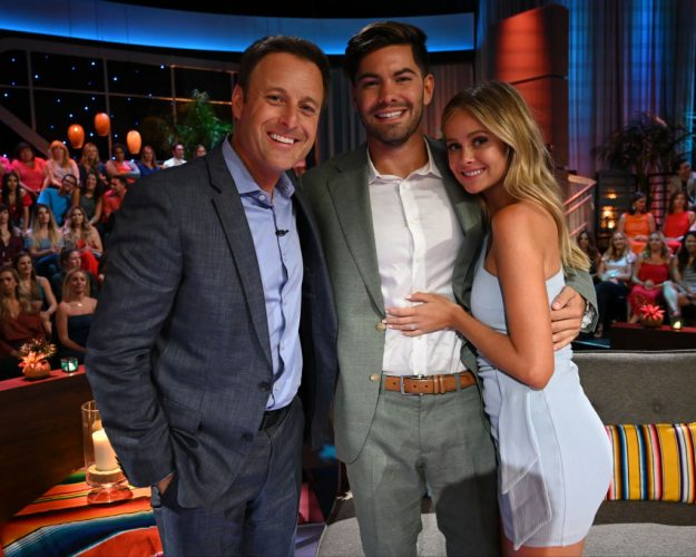 Chris Harrison, Dylan Barbour, and Hannah Godwin at the 'Bachelor in Paradise' finale live reunion show