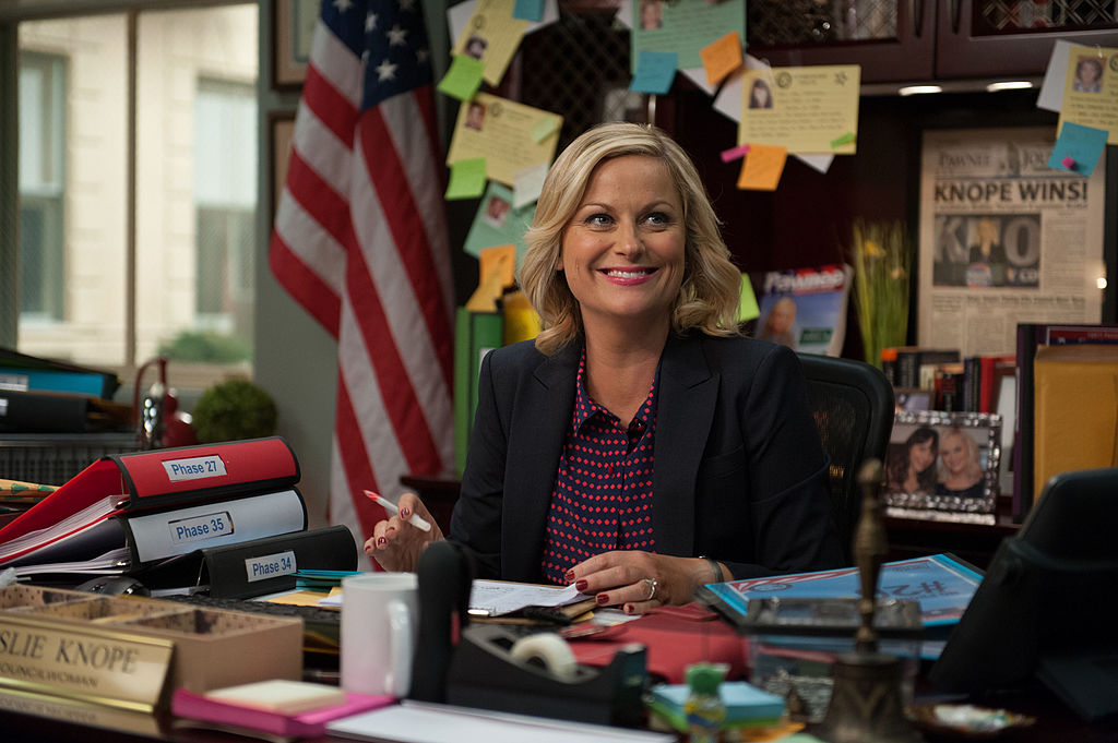 Leslie Knope at her desk