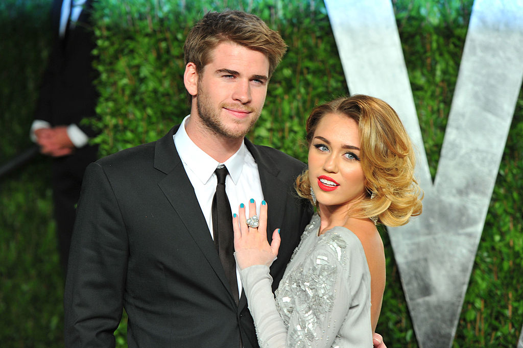 Liam Hemsworth and Miley Cyrus at the 2012 Vanity Fair Oscar Party on February 26, 2012