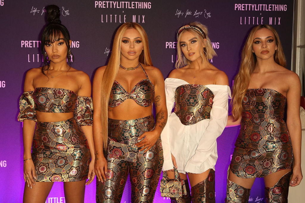 Perrie Edwards, Jesy Nelson, Leigh-Anne Pinnock, and Jade Thirlwall at the launch of the PrettyLittleThing x Little Mix collection at Aynhoe Park House on November 6, 2019 in Banbury, England.