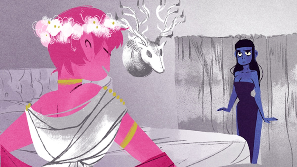 Persephone and Artemis talk in a scene from 'Lore Olympus,' a modern retelling of Hades and Persephone's myth.