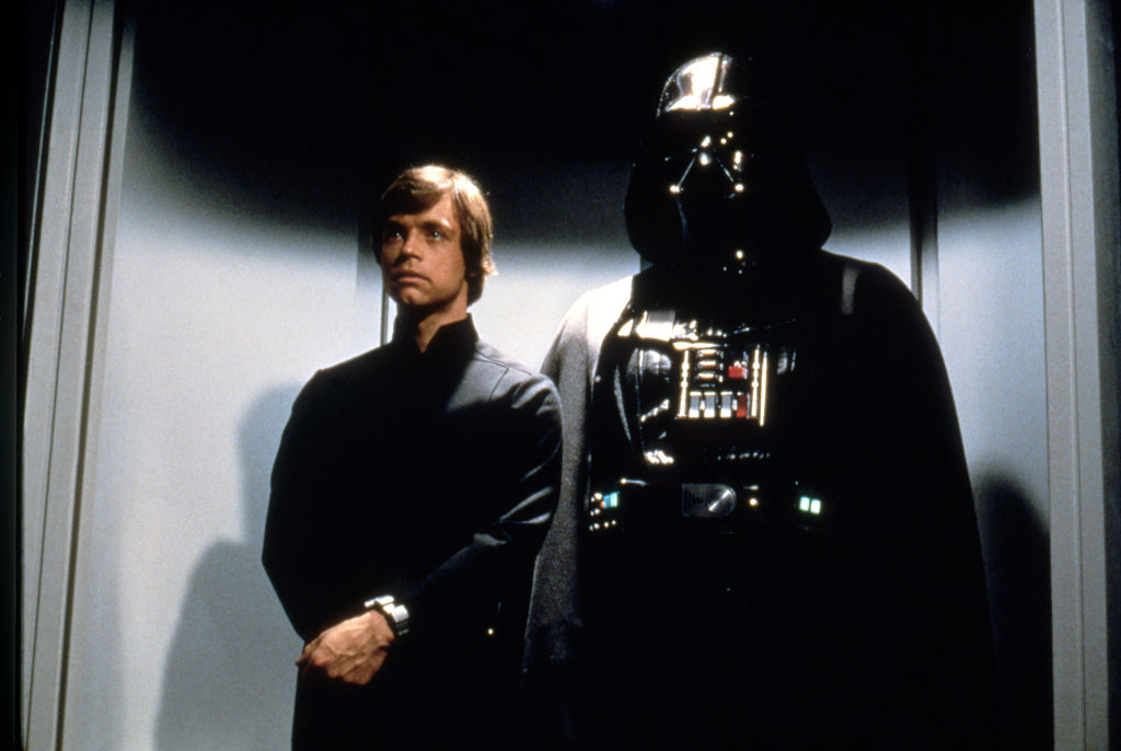 Luke Skywalker and Darth Vader on their way to meet Palpatine in 'Return of the Jedi'