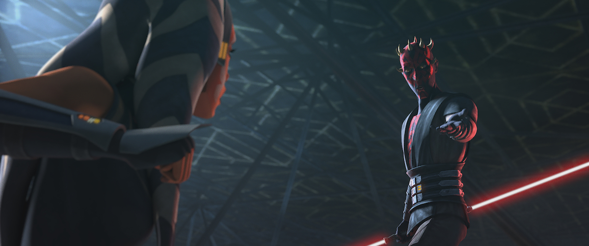 Ahsoka squares off against Maul in 'Star Wars: The Clone Wars.'