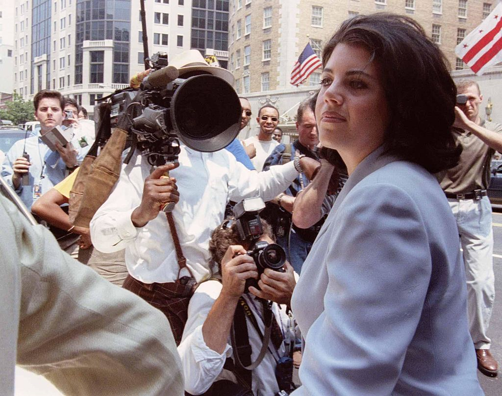 Monica Lewinsky at her attorney's office downtown, where her immunity agreement with independent counsel Kenneth Starr was announced, 07/29/98