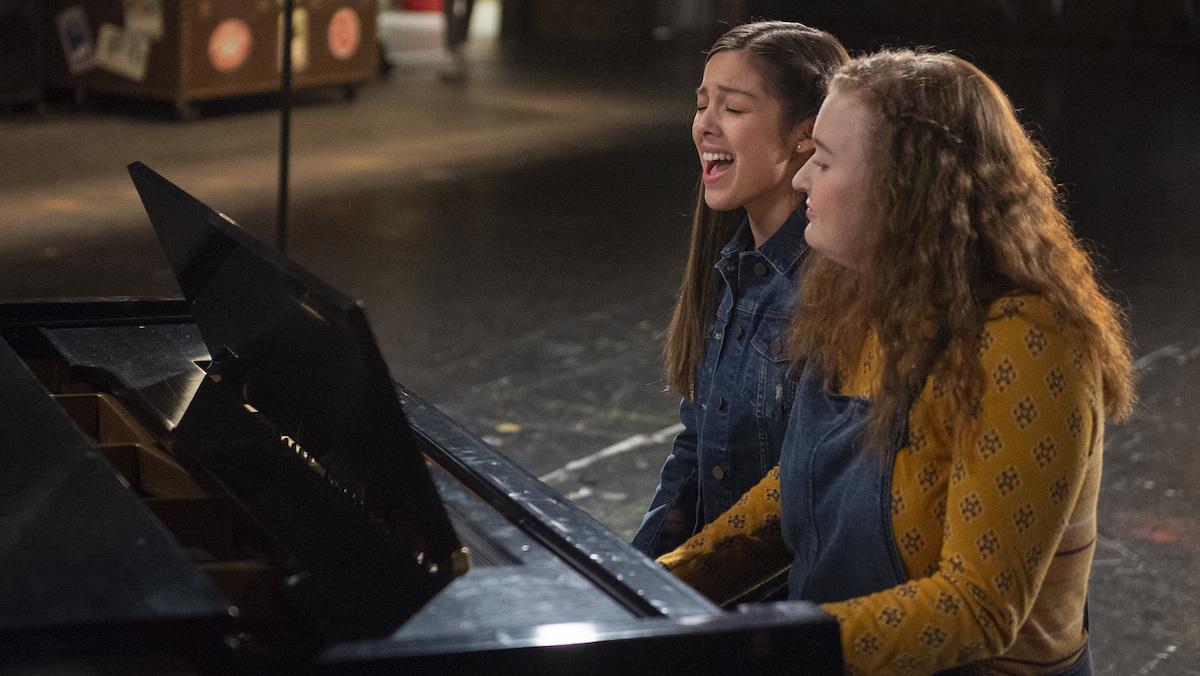 "Nini (Olivia Rodrigo) and Ashlyn (Julia Lester) sing ""Wondering"" on 'High School Musical: The Musical: The Series.'"