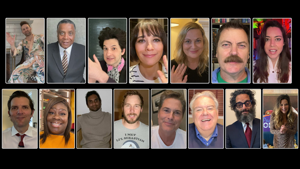 """A screenshot from """"A Parks and Recreation Special"""" on NBC."""