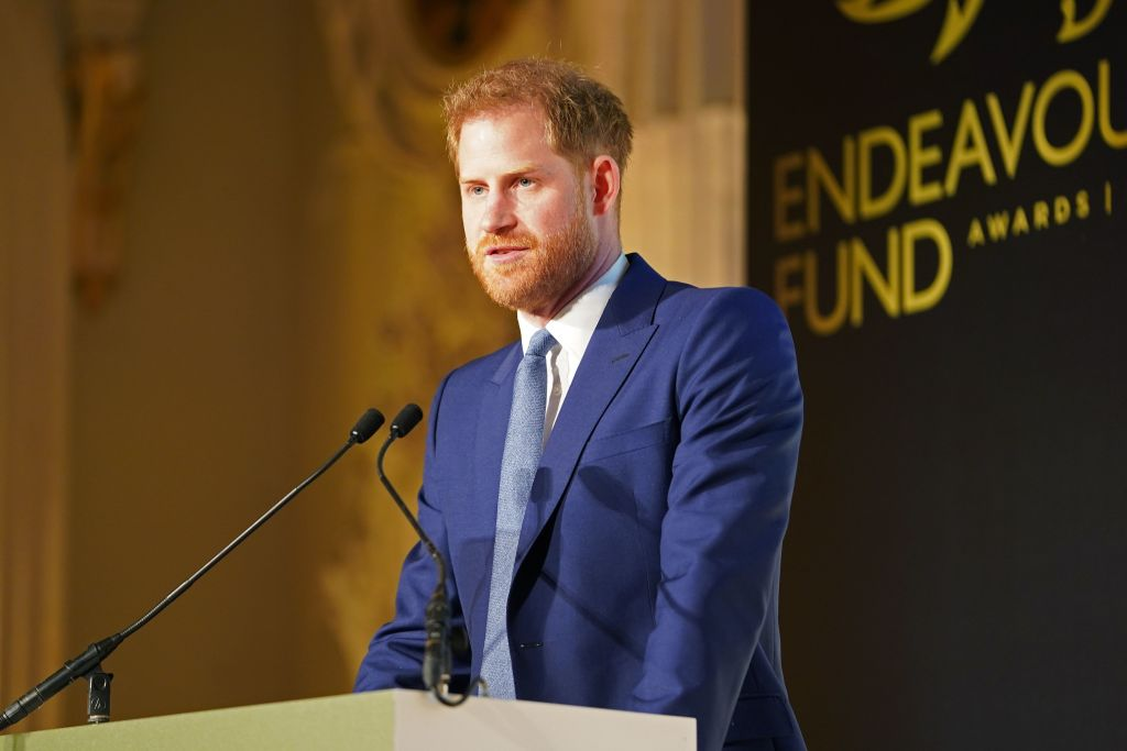 Prince Harry, Duke of Sussex delivers a speech during the Endeavour Fund Awards