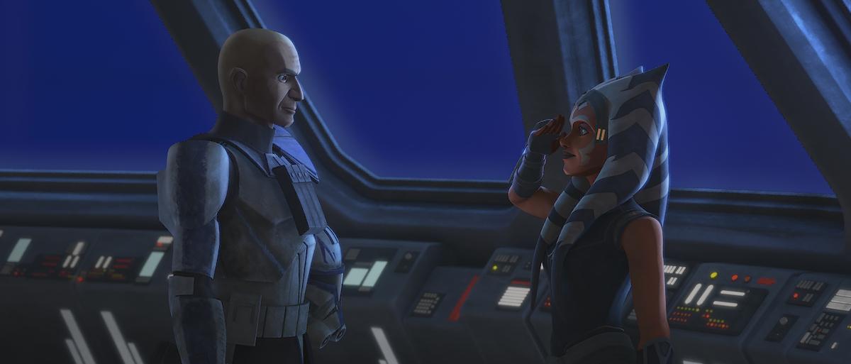 Ahsoka salutes Rex on board a ship in 'Star Wars: The Clone Wars'