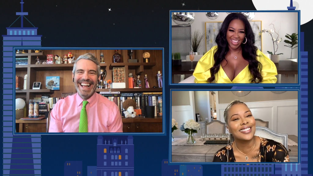 Andy Cohen hosts 'WWHL @ Home' with guests Kenya Moore and Eva Marcille