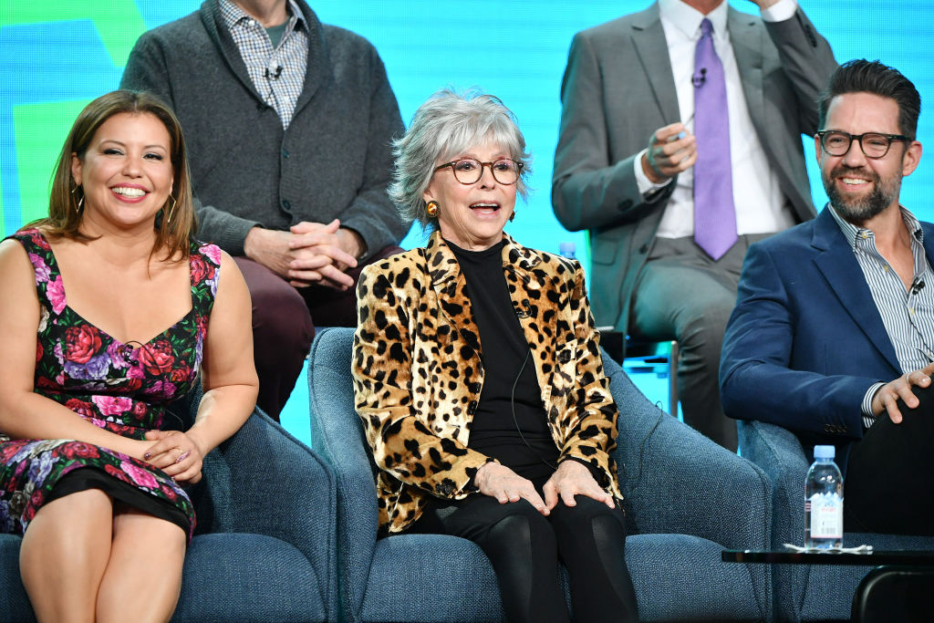 Justina Machado, Rita Moreno, and Todd Grinnell of 'One Day at a Time' speak during the Pop TV segment of the 2020 Winter TCA Press Tour.