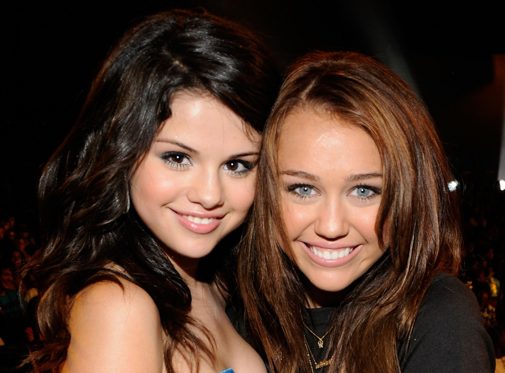 Selena Gomez and Miley Cyrus during the 2008 Teen Choice Awards on August 3, 2008
