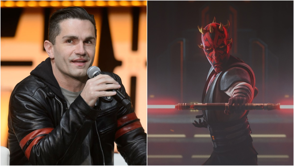 (L) Sam Witwer speaks at a panel at Star Wars Celebration 2019 in Chicago, IL/(R) Maul prepares to fight Ahsoka in 'Star Wars: The Clone Wars' Season 7