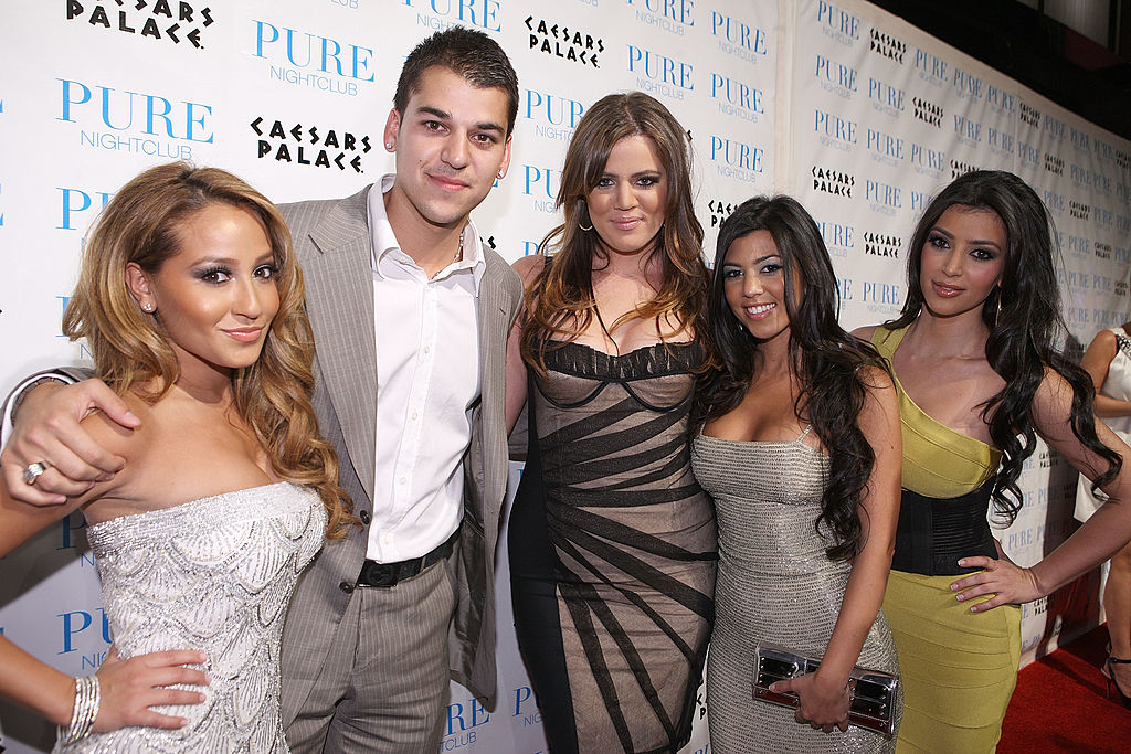 Actress Adrienne Bailon, reality television personalities Robert Kardashian, Khloe Kardashian, Kourtney Kardashian and Kim Kardashian attend PURE Nightclub for Khloe Kardashian's birthday on June 27, 2008 in Las Vegas, Nevada