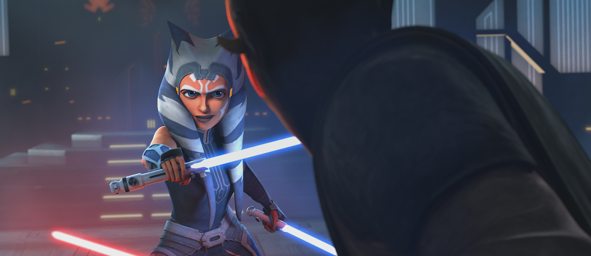 Ahsoka and Maul face off in their duel on Mandalore in 'Star Wars: The Clone Wars'