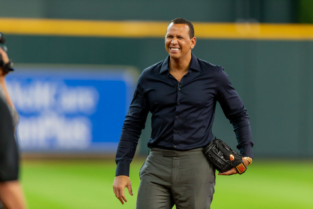 Alex Rodriguez reacts during an ESPN filming prior to a baseball game between the Houston Astros and the Los Angeles Angels on September 02, 2018