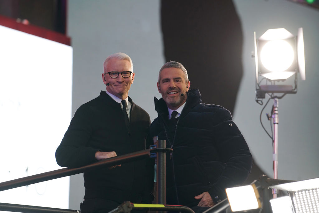 Anderson Cooper and Andy Cohen attend the Times Square New Year's Eve 2020 Celebration