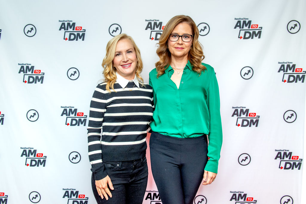 Angela Kinsey and Jenna Fischer discuss 'The Office Ladies' with BuzzFeed's 'AM To DM'