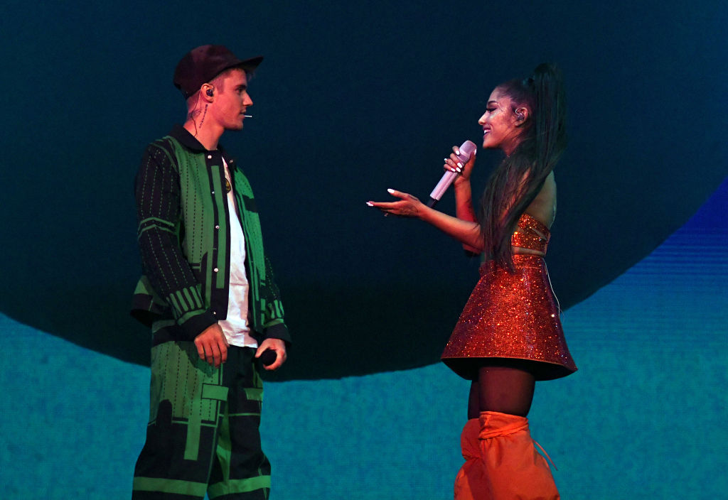 Justin Bieber performs with Ariana Grande at Coachella Stage