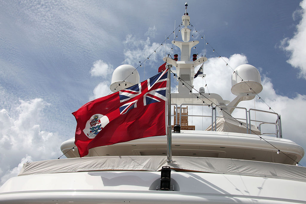 "The Cayman Islands Flag on board the ""Honor"" luxury yacht"