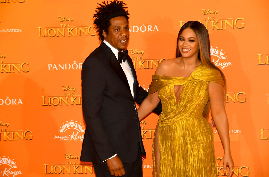 "Jay-Z and Beyoncé Knowles-Carter attend ""The Lion King"" European Premiere"
