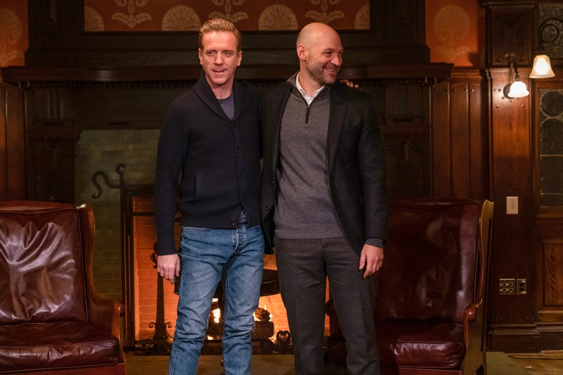 Damian Lewis and Corey Stoll work on 'BIllions'