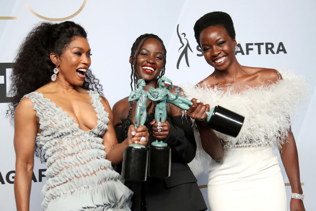 Angela Bassett, Lupita Nyong'o, and Danai Gurira, winners of Outstanding Performance by a Cast in a Motion Picture for 'Black Panther'