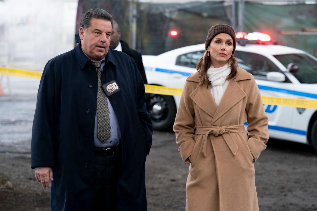 Bridget Moynahan as Erin Reagan, Steven Schirripa as Anthony Abetamarco on 'Blue Bloods'