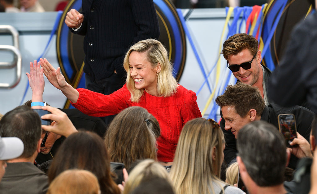 Brie Larson (Captain Marvel,) Chris Hemsworth (Thor,) and Jeremy Renner (Hawkeye)
