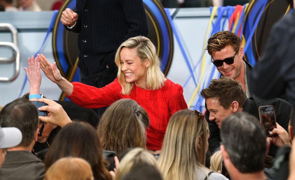 Brie Larson (Captain Marvel,) Chris Hemsworth (Thor,) and Jeremy Renner (Hawkeye)