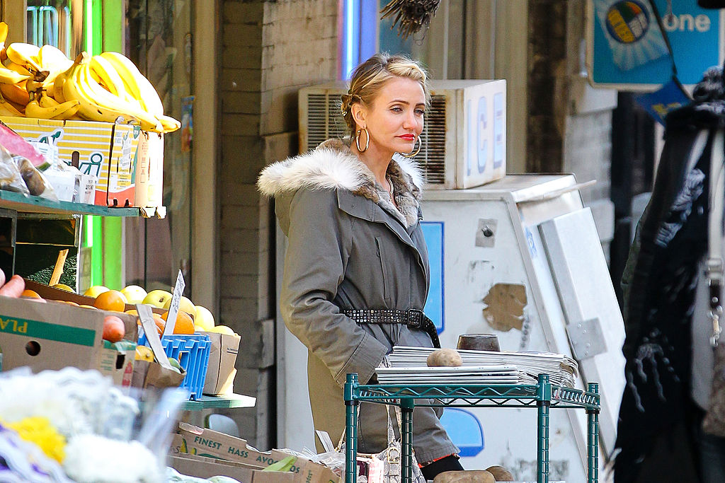 Cameron Diaz seen on location for 'Annie' in Harlem on November 14, 2013