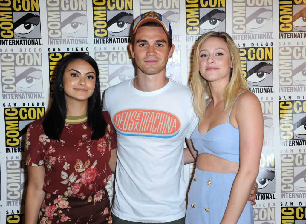 """Camila Mendes, KJ Apa and Lili Reinhart attend the """"Riverdale"""" special video presentation at Comic-Con International 2018"""