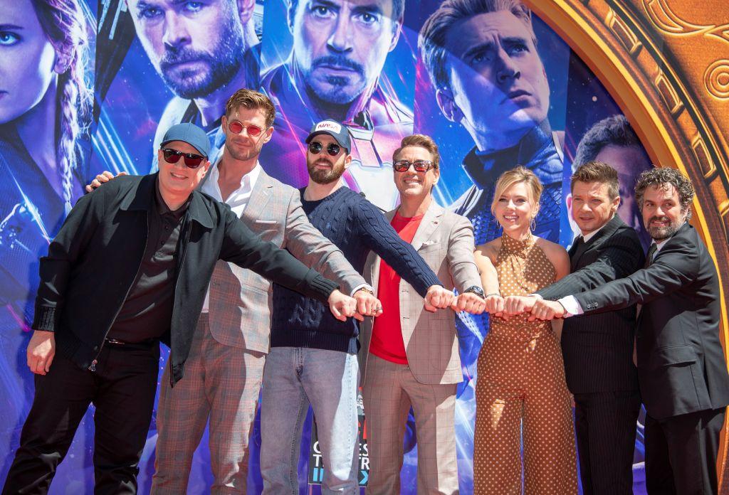 President of Marvel Studios/Producer Kevin Feige, actors  Chris Hemsworth, Chris Evans, Robert Downey Jr., Scarlett Johansson, Mark Ruffalo and Jeremy Renner attends the Marvel Studios' 'Avengers: Endgame'