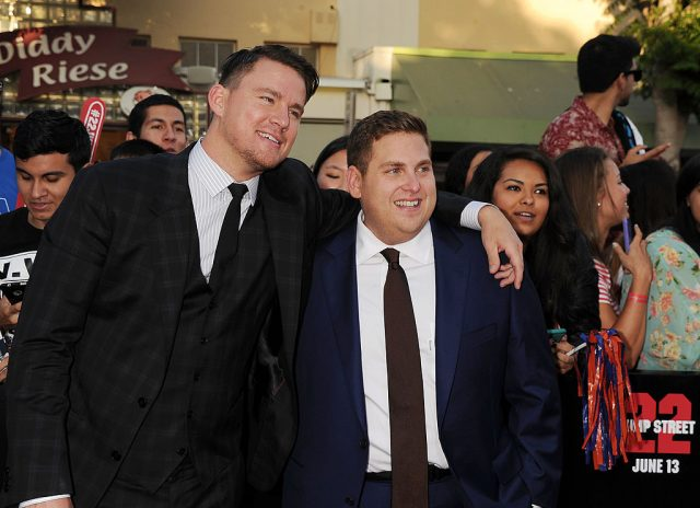 Channing Tatum and Jonah Hill at the '22 Jump Street' premiere