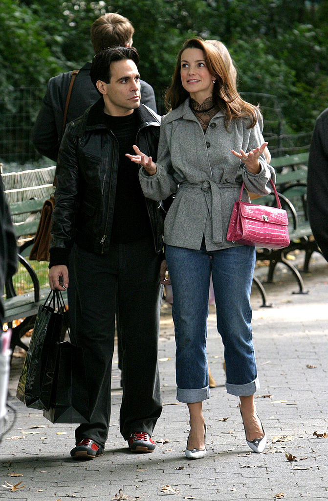 Mario Cantone as Anthony Marentino and Kristin Davis as Charlotte York on location in Central Park