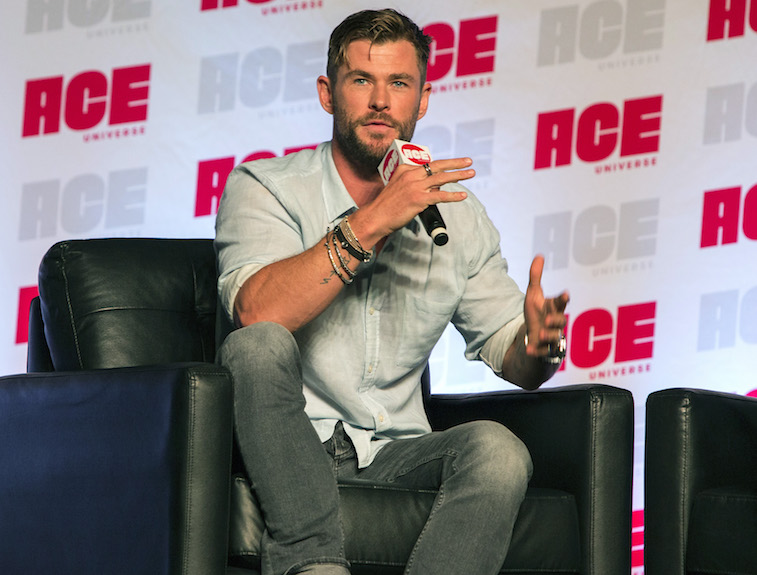 Chris Hemsworth speaks onstage