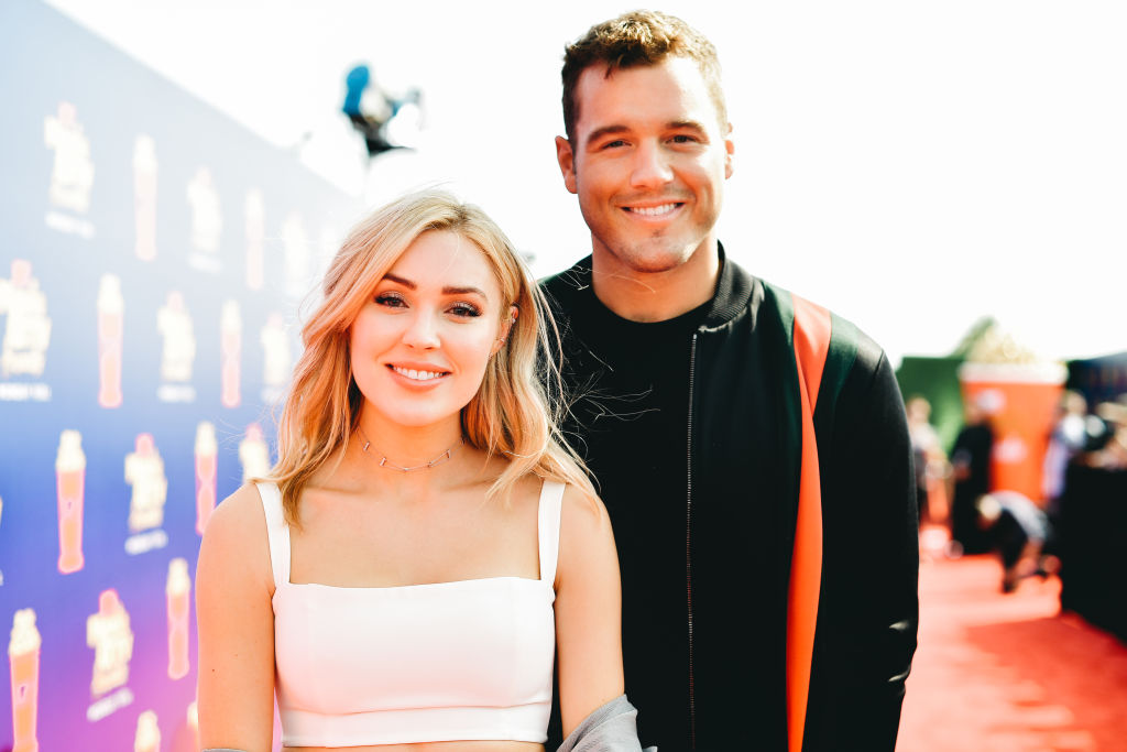 Cassie Randolph and Colton Underwood attend the 2019 MTV Movie and TV Awards at Barker Hangar on June 15, 2019 in Santa Monica, California.