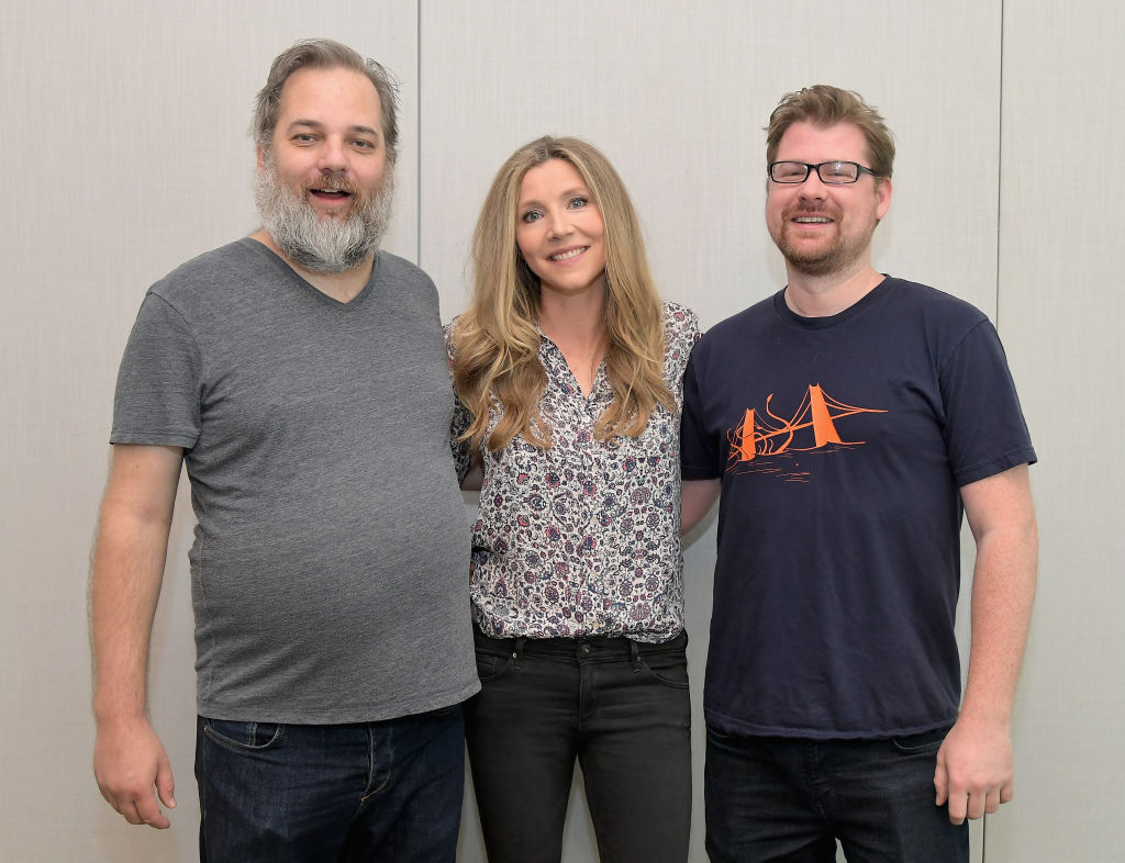 """Dan Harmon, Sarah Chalke, and Justin Roiland at the """"Rick and Morty"""" L.A. Press Junket on July 17, 2017 in Los Angeles, California."""